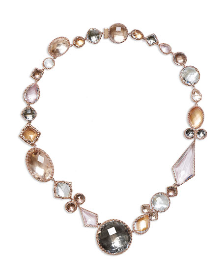 Image 1 of 1: Sadie Medallion Riviere Necklace in Multi-Peach Foil