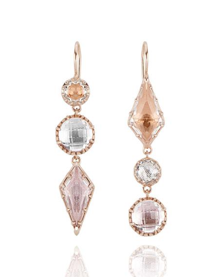 Larkspur & Hawk Sadie Kite Drop Earrings in Multi-Peach Foil