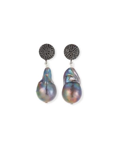 Peacock Baroque Pearl & Black Spinel Earrings