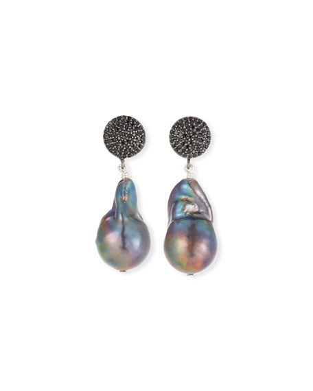 Peacock Baroque Pearl & Black Spinel Earrings
