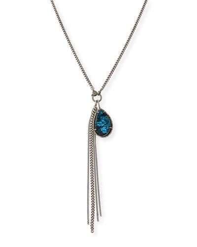 Long Chrysocolla & Diamond Pendant Necklace