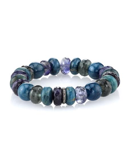 12mm Apatite Mix Bracelet with Diamond Beads