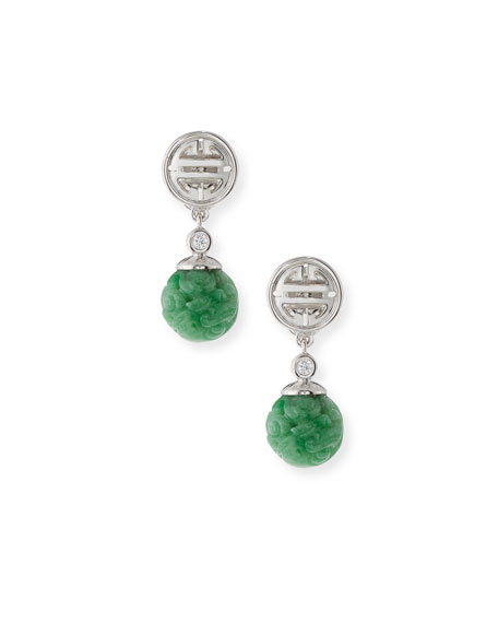 Carved Green Jade Bead Drop Earrings with Diamonds