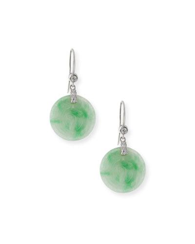 Round Green Jadeite Drop Earrings with Diamonds