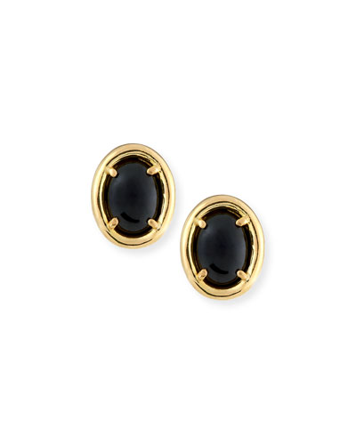 Black Nephrite Jade Stud Earrings