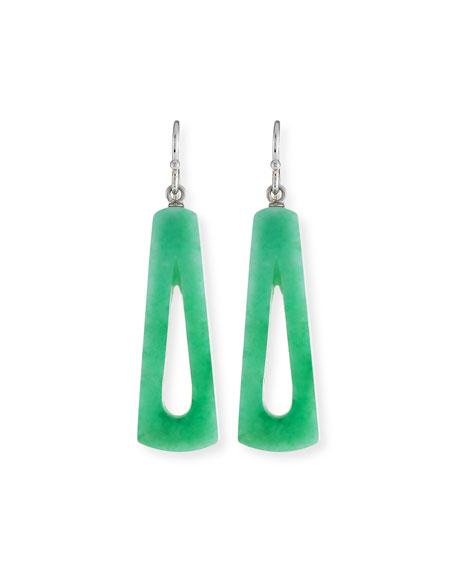 Green Jade Open Dangle Earrings
