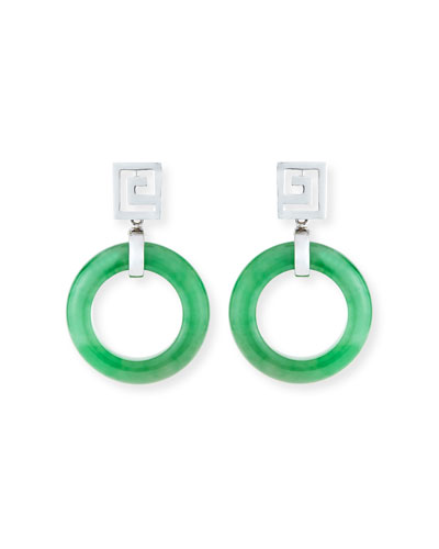 Open Green Jadeite Circle Drop Earrings
