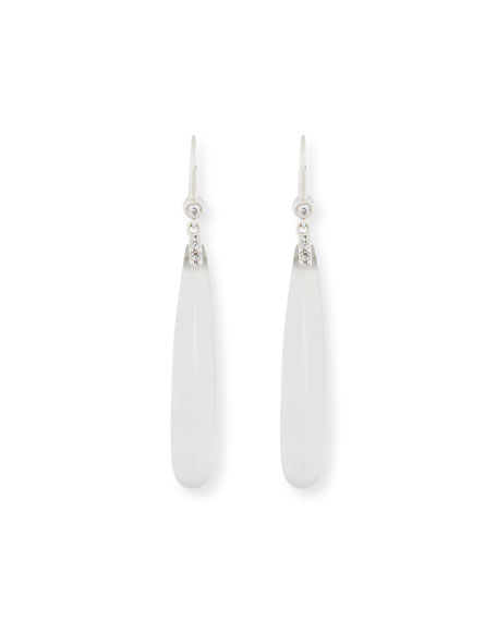 Translucent White Jadeite Teardrop Earrings with Diamonds