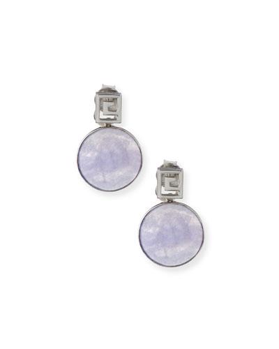 Translucent Lavender Jade Bezel Drop Earrings