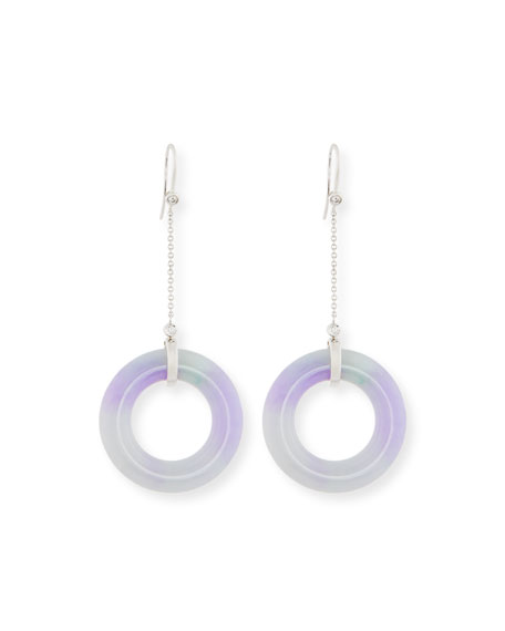 David C.A. Lin Open Lavender Jade Chain Drop Earrings with Diamonds
