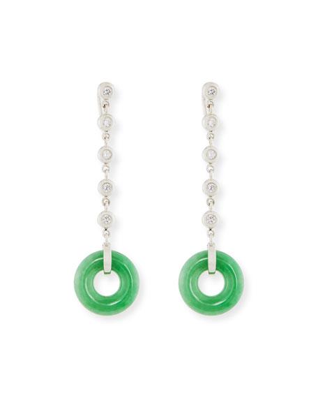Green Jade Circle Drop Earring with Diamonds