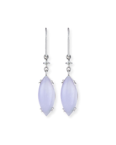 David C.A. Lin Lavender Jadeite Marquis Drop Earrings