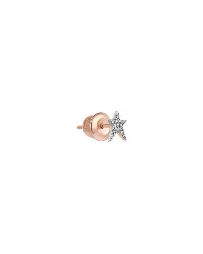 Struck Star 14k Diamond Single Stud Earring