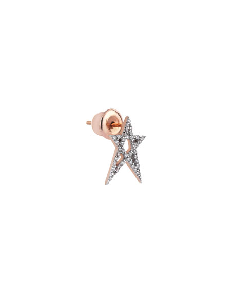 Struck Star 14k Doodle Single Stud Earring