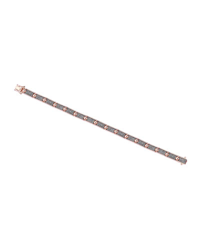 Beads 14k Three-Row Champagne Diamond Bracelet