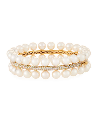 Akoya Pearl Two-Row Diamond-Trim Bracelet