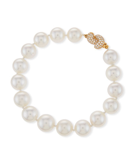 South Sea Pearl Bracelet with Diamond Knot Clasp