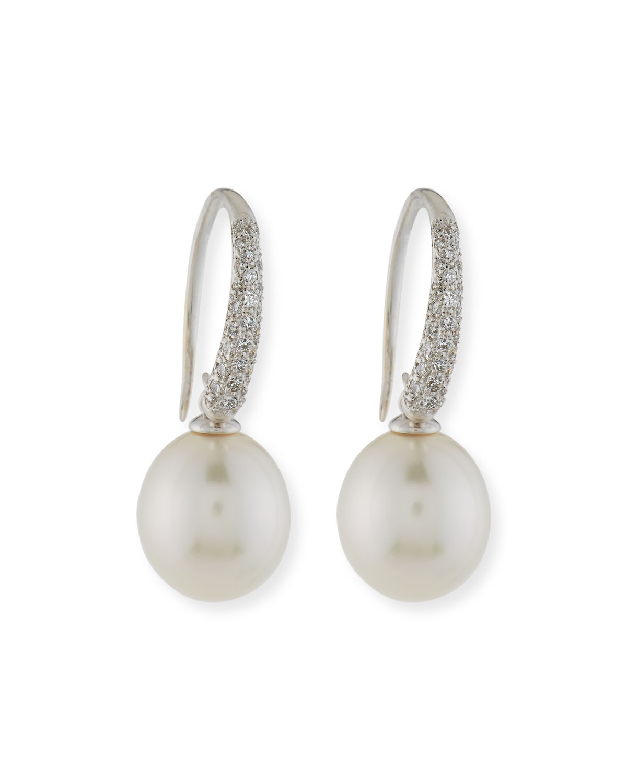 Assael South Sea Pearl & Bezel-Set Diamond Button Clip Earrings Fz6Hwk
