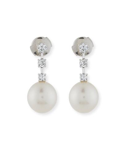 Three Diamond & South Sea Pearl Drop Earrings