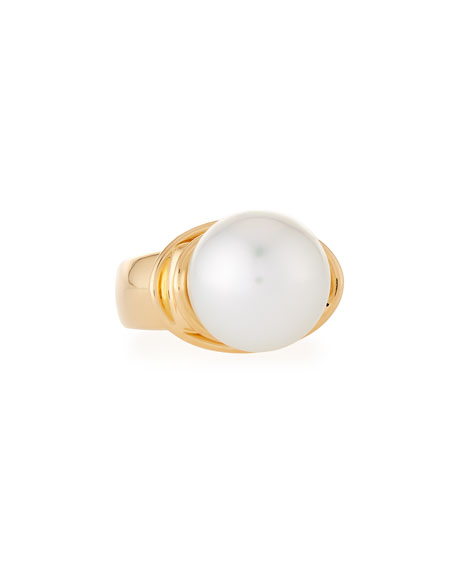 14mm Pearl Solitaire Ring in 18K Gold