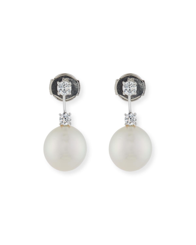 Double Diamond Pearl Drop Earrings