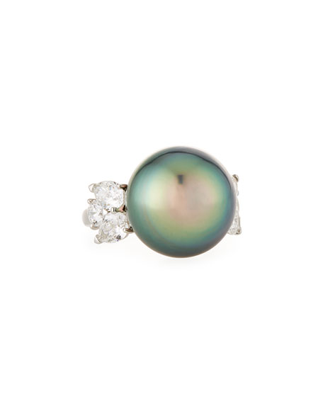 Assael Tahitian Pearl & Diamond Ring in Platinum, Size 5.75
