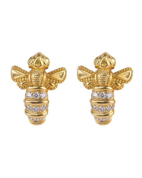 Konstantino 18k Yellow Gold Bee Stud Earrings w/ Diamonds