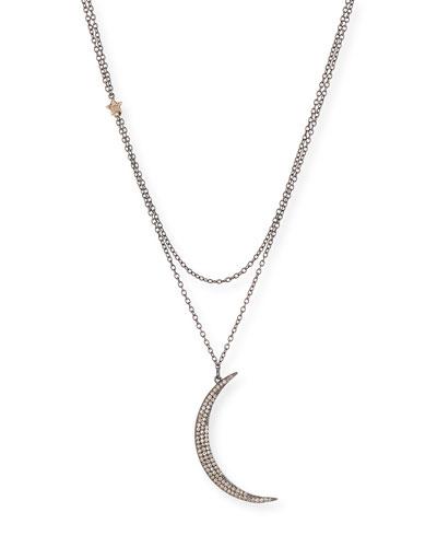 Diamond Crescent Moon & Star Pendant Necklace