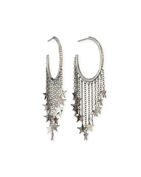 Diamond Star Chain Hoop Earrings