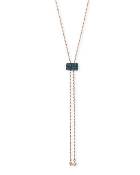 14k Geometric Blue Diamond Lariat Necklace