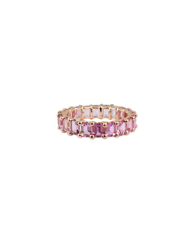 14k Rose Gold Pink/Purple Sapphire Band Ring  Size 7