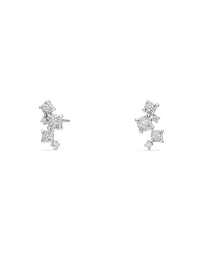 Petite Châtelaine 18K White Gold Climber Earrings with Diamonds