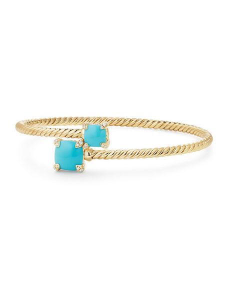Châtelaine 14k Turquoise Bypass Bracelet, Size L