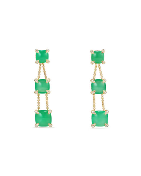 David Yurman Châtelaine Chain Drop Earrings with Chrysoprase & Diamonds