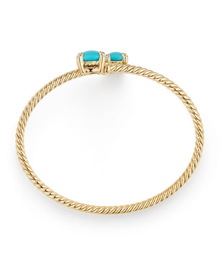 Châtelaine 14k Turquoise Bypass Bracelet, Size S