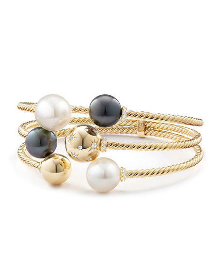Image 1 of 2: David Yurman Solari Three-Row Pearl & Diamond Open Cable Bracelet