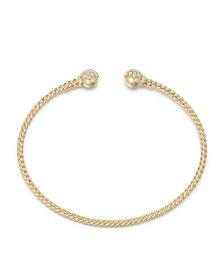 6mm Solari Pave Diamond Open Cuff Bracelet, Large