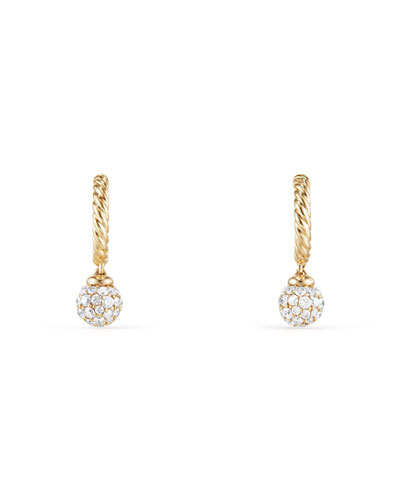 Solari Pavé Diamond Ball Drop Hoop Earrings