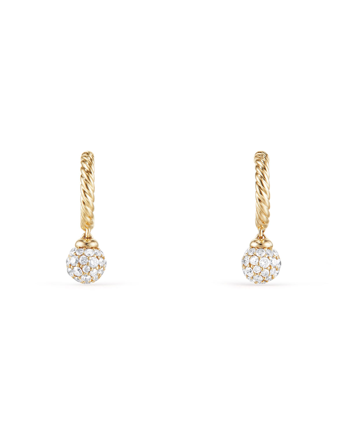Solari Pave Diamond Ball Drop Hoop Earrings