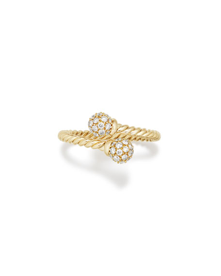 David Yurman 5.5mm Solari 18K Gold Bypass Ring with Diamonds, Size 6