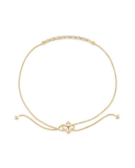 David Yurman Petite Paveflex 18K Yellow Gold Station Bracelet with Diamonds