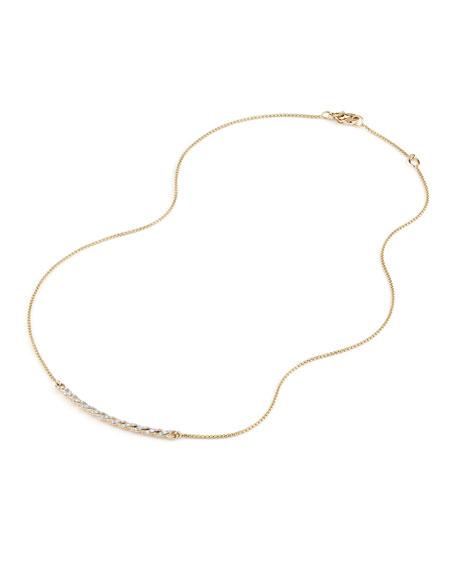 David Yurman Petite Paveflex 18K Yellow Gold Station Necklace with Diamonds