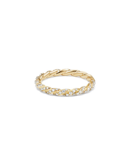 David Yurman Paveflex 2.7mm Ring with Diamonds in 18K Gold, Size 7
