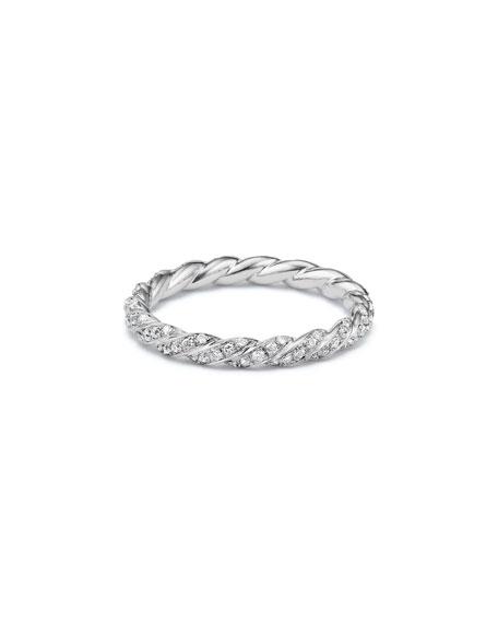 David Yurman Paveflex 2.7mm Ring with Diamonds in 18K White Gold, Size 7
