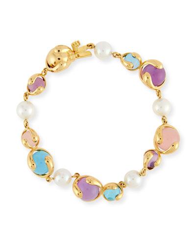 Cardan Amethyst, Blue Topaz, Rose Quartz & Pearl Bracelet