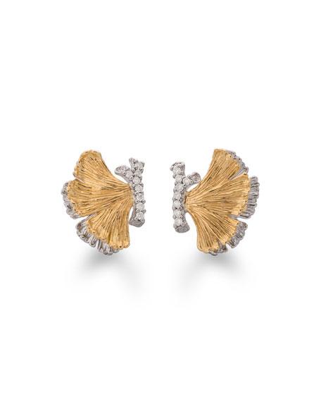 Michael Aram Butterfly Ginkgo Half Earrings with Diamonds