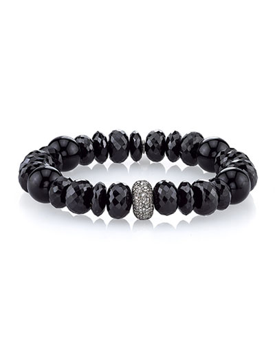 12mm Black Mix Beaded Bracelet with Diamond Bead