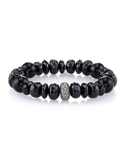 12mm Black Mix Beaded Bracelet with Diamond Bead