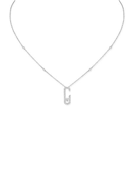 Move Addiction Diamond Necklace, White Gold