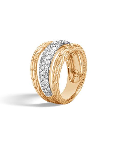 John Hardy Classic Chain 18k Pave Diamond Ring, Size 6
